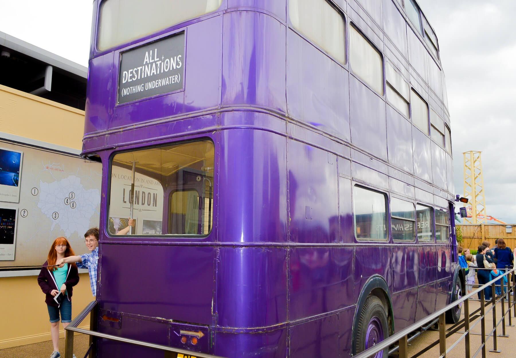 Double Decker Purple Bus in Harry Potter Studios