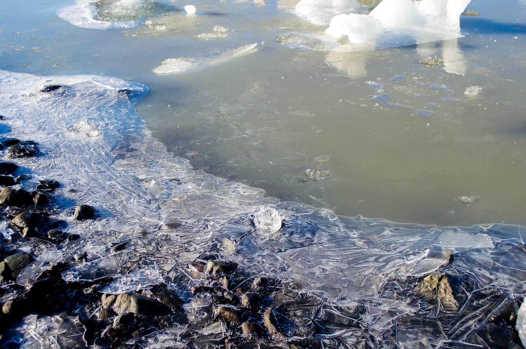 frozen water in a glacier lagoon
