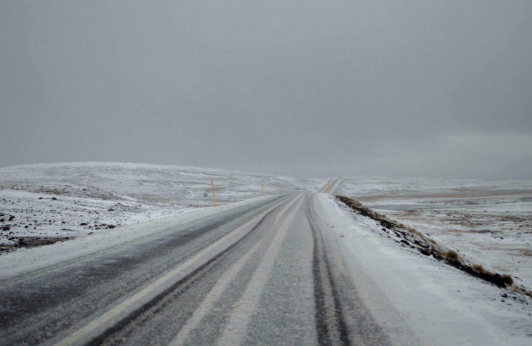 A long road covered in snow in Iceland