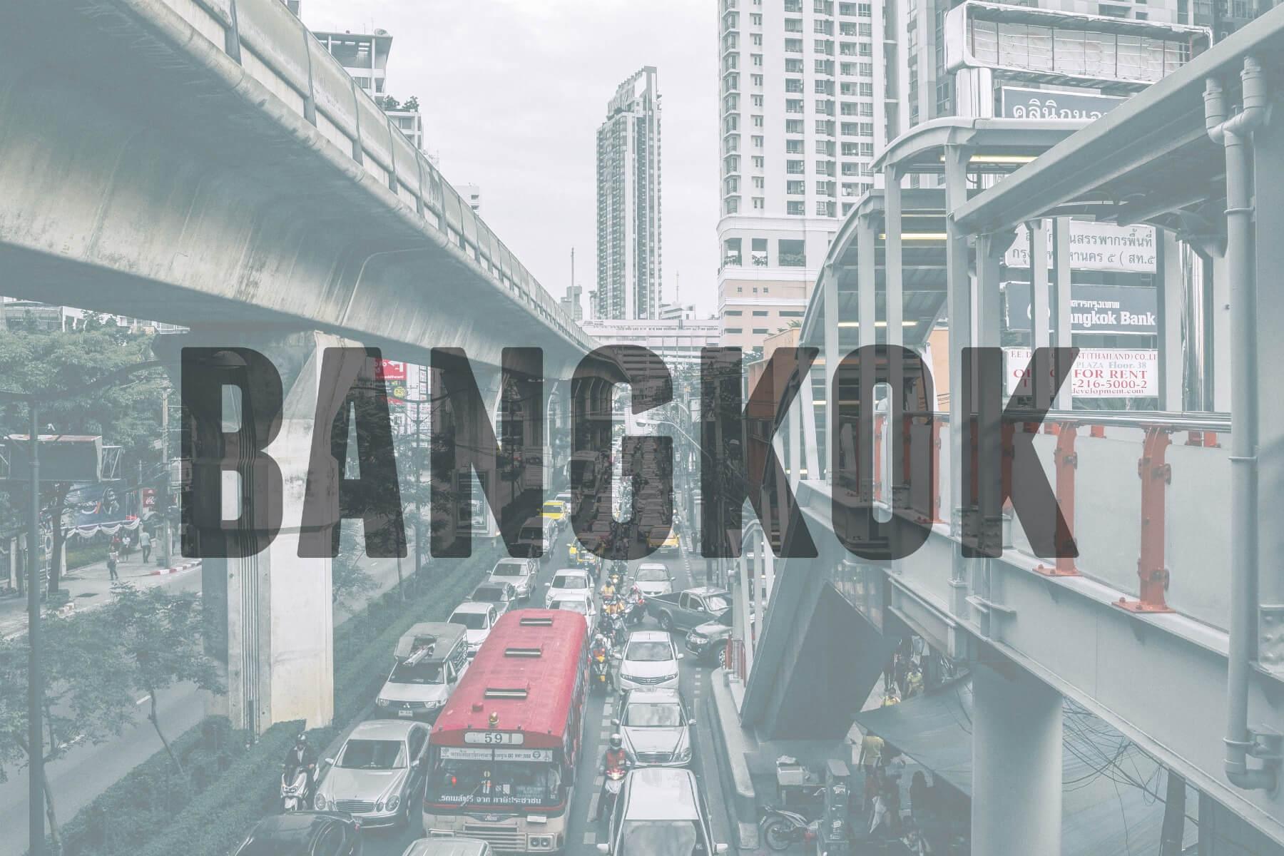 'BANGKOK' (City bridge and cars)