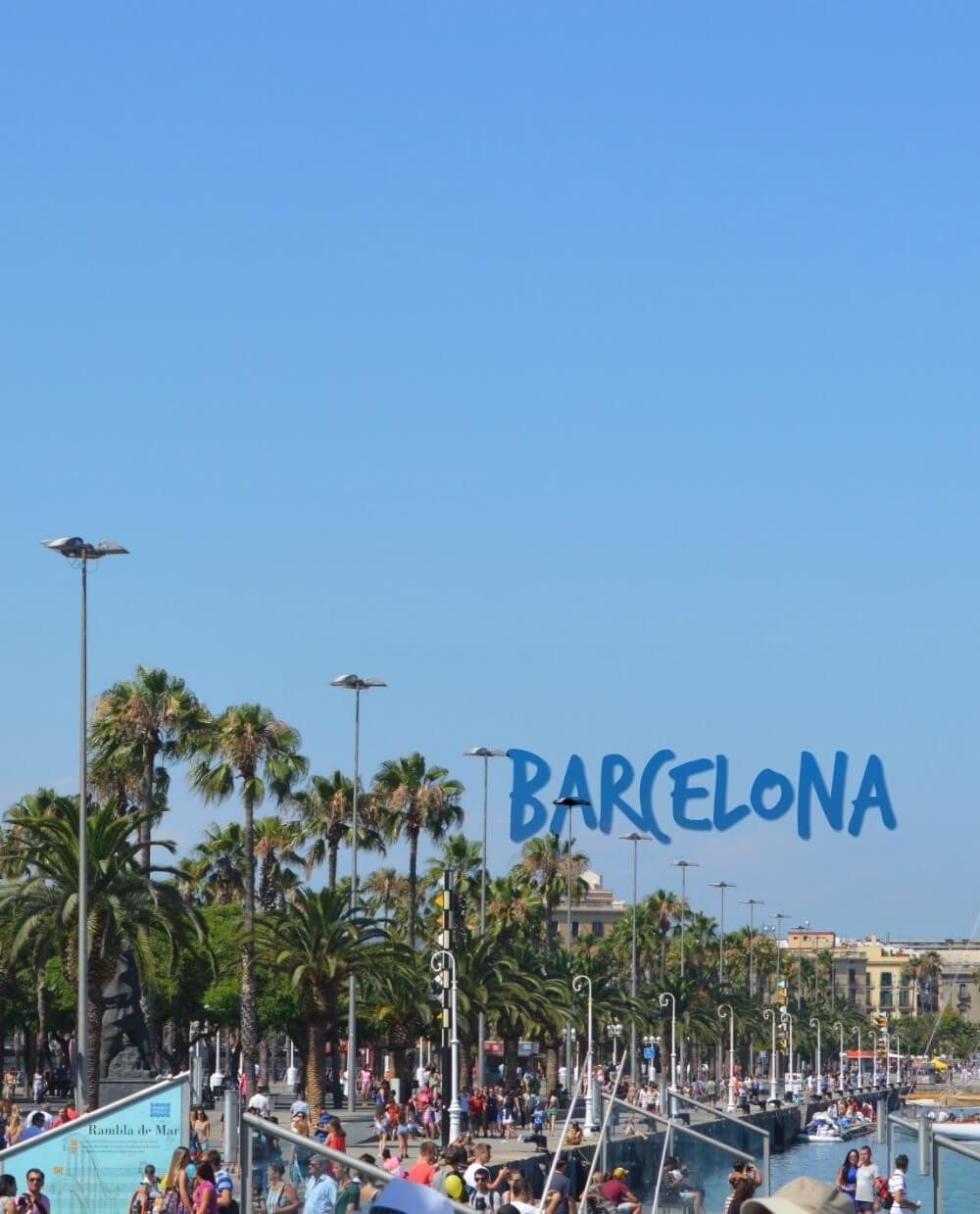 "Palm trees along waterfront in Barcelona - ""Barcelona"" text in sky"