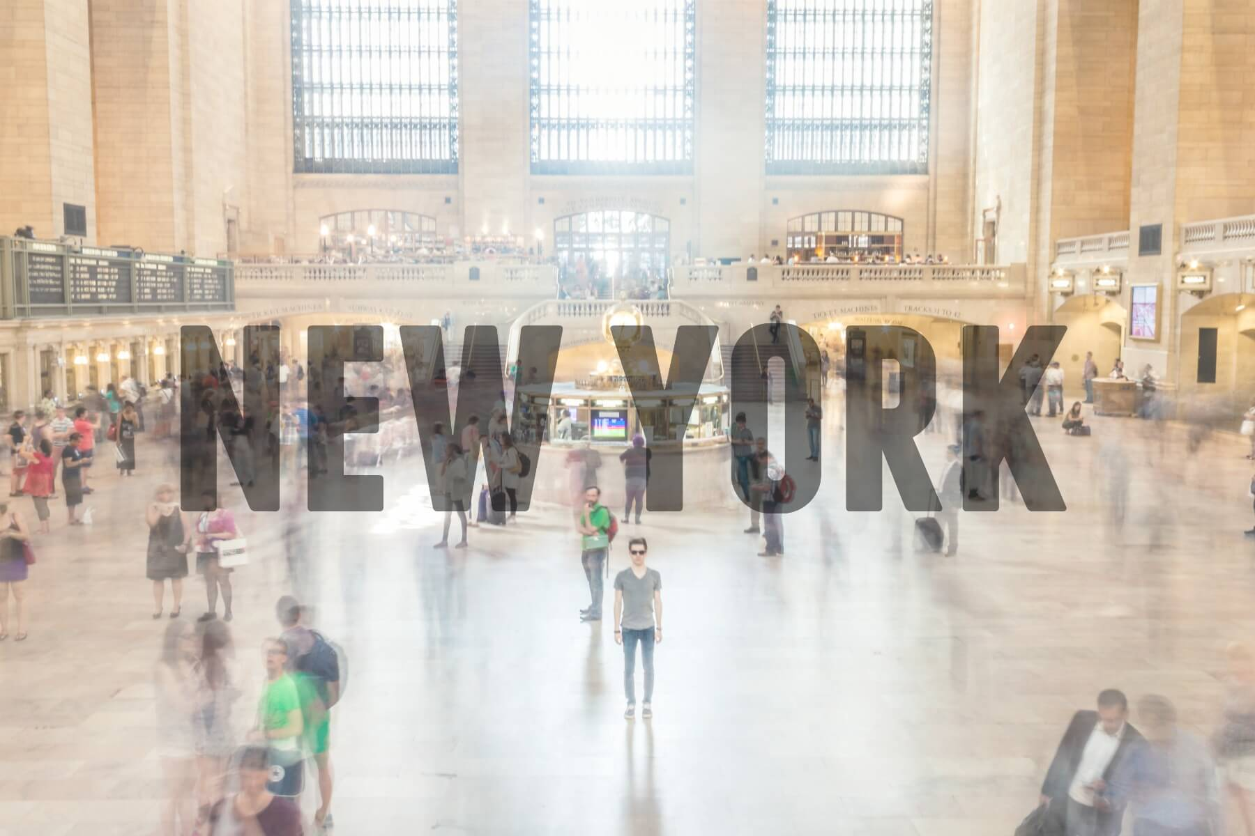'NEW YORK' (Inside busy train station)