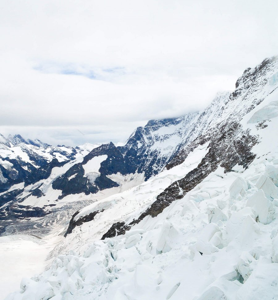 High up in the Swiss Alps surrounded by snow and glaciers