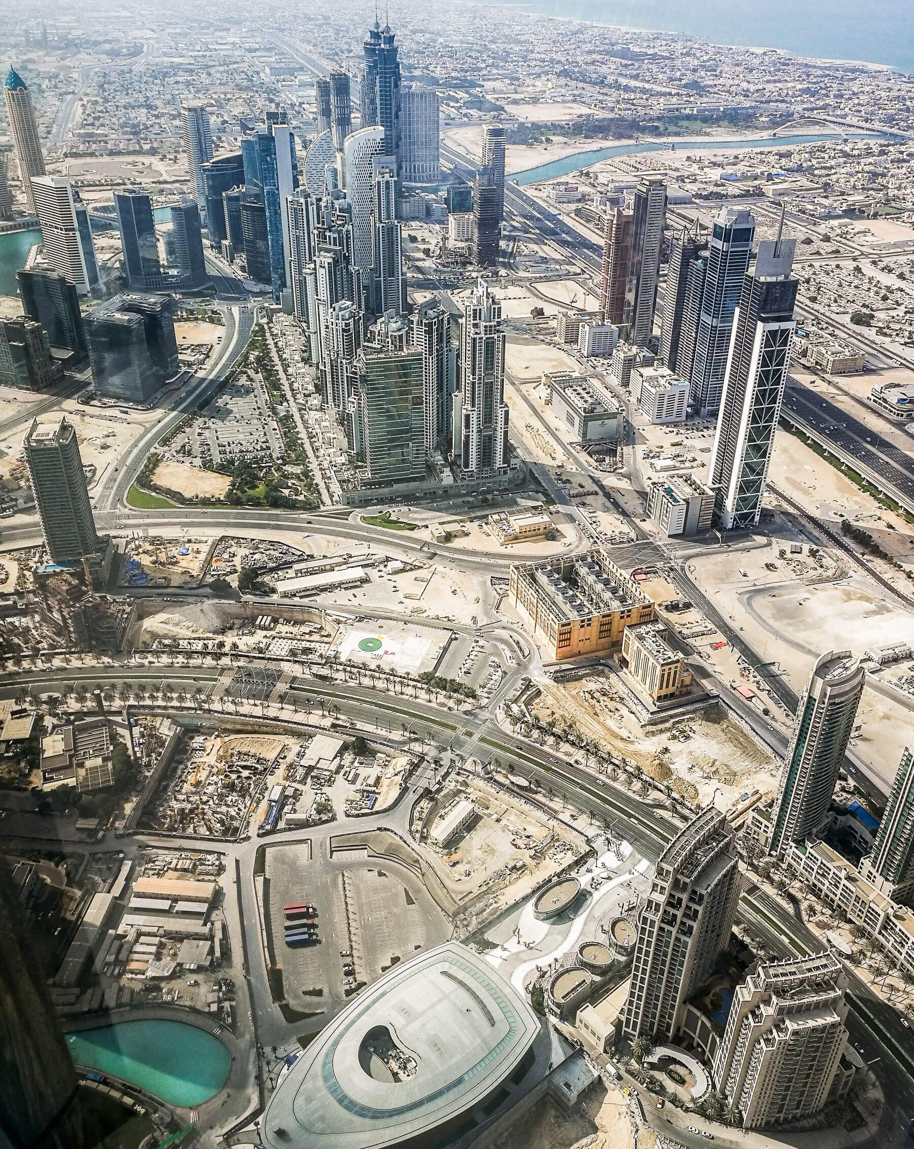 View from Burj Khalifa overlooking Dubai