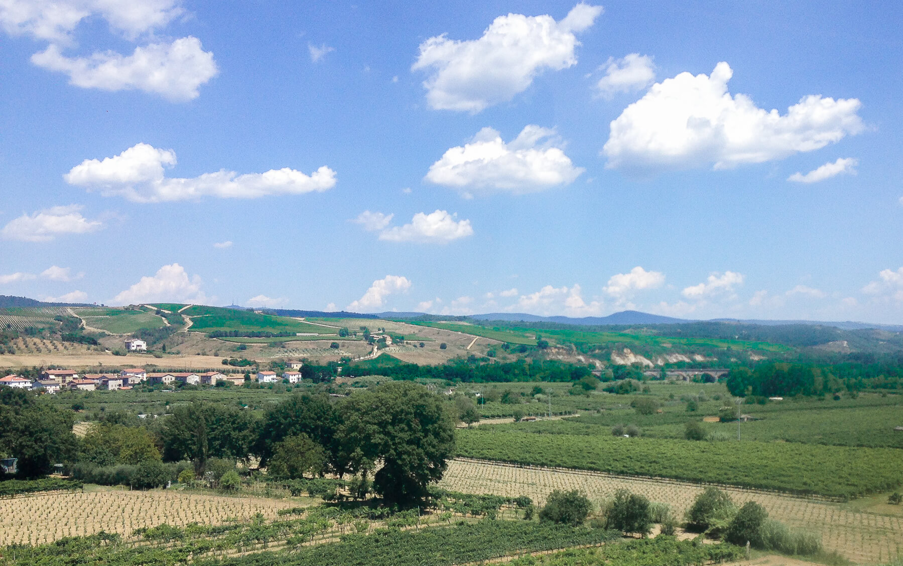 Italian country side from the view of a Train