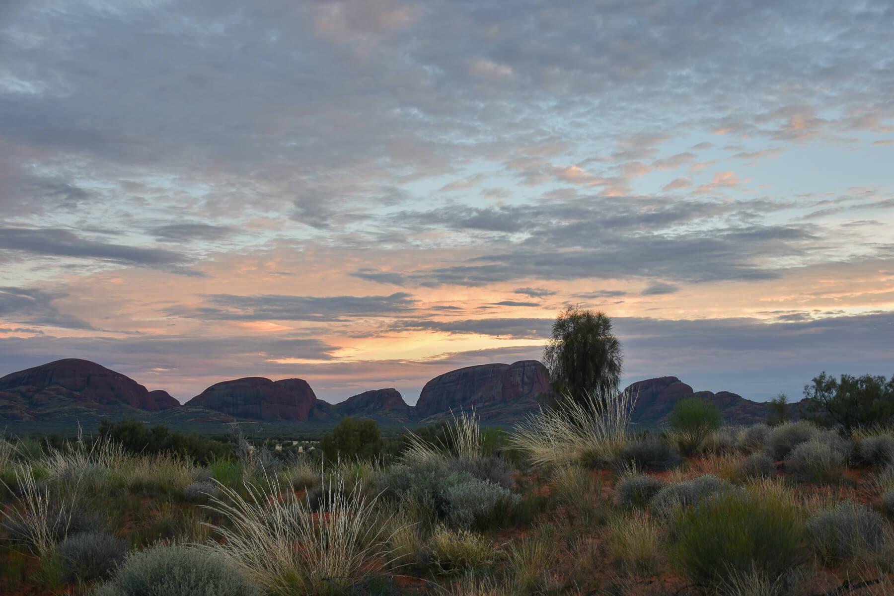 Sunrise forming over Kata Tjuta in the distance
