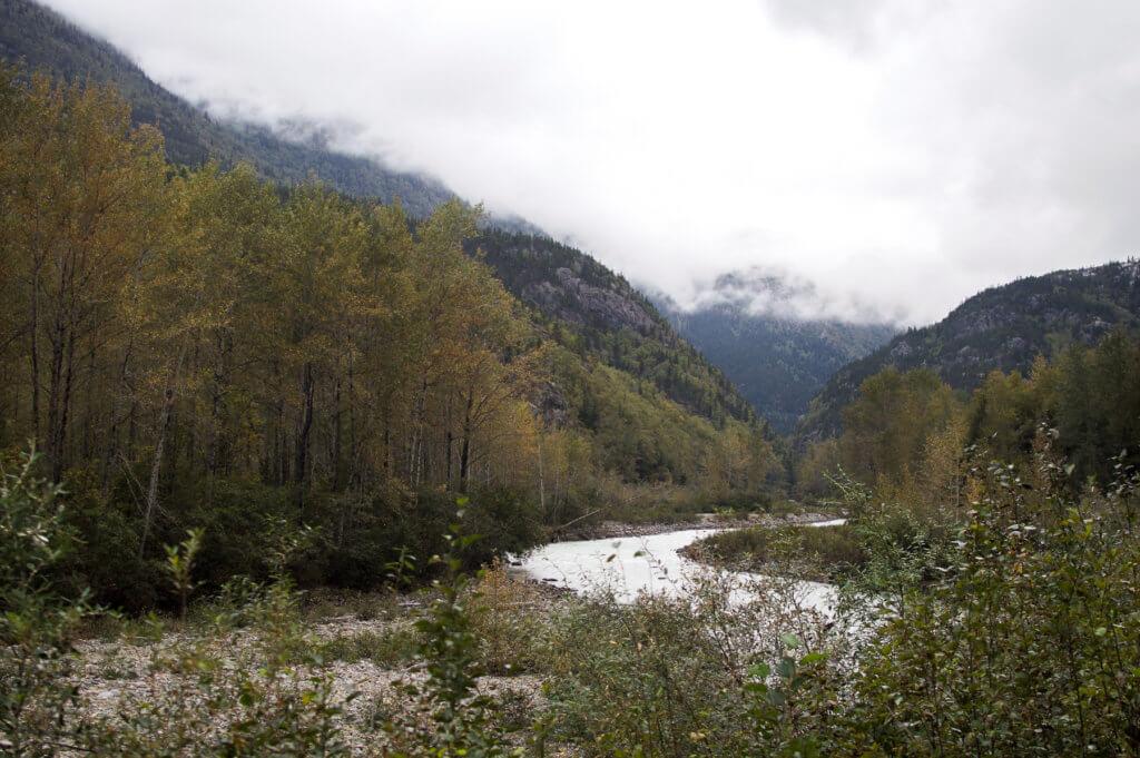 Small river winding through a valley in Skagway, Alaska