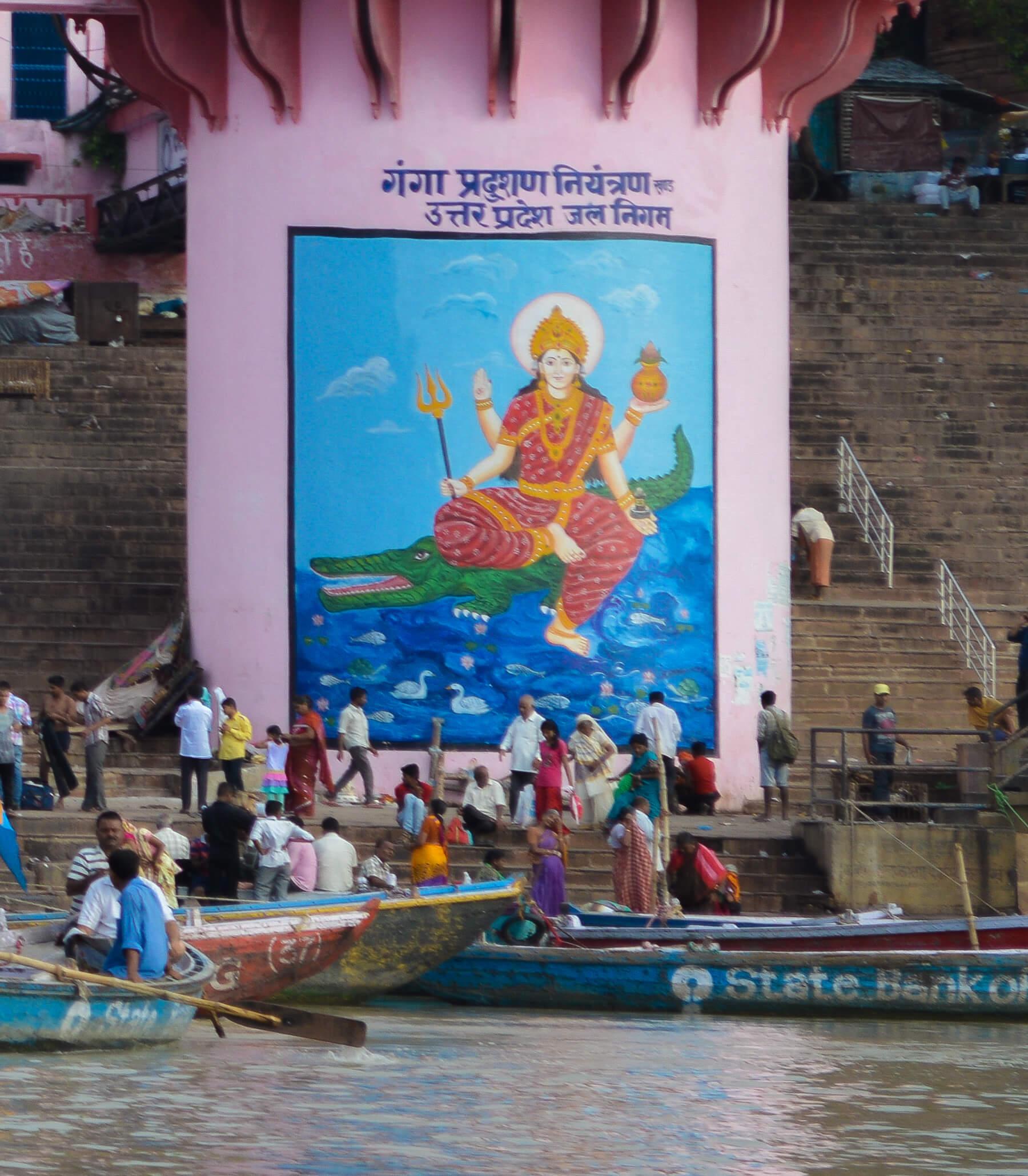 Painting printed on a water tower of Gangaji - Hindu goddess at River Ganges
