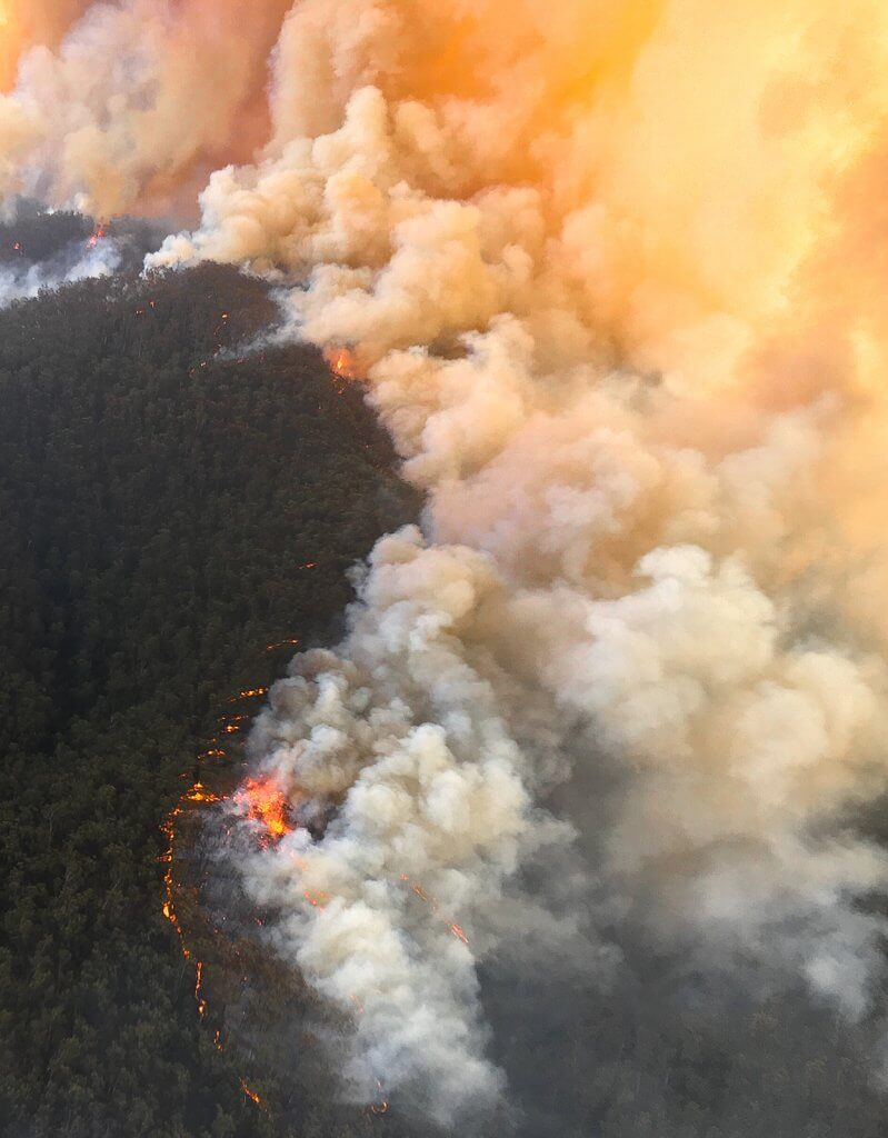 Aerial view of Australian bushland burning in a bushfire