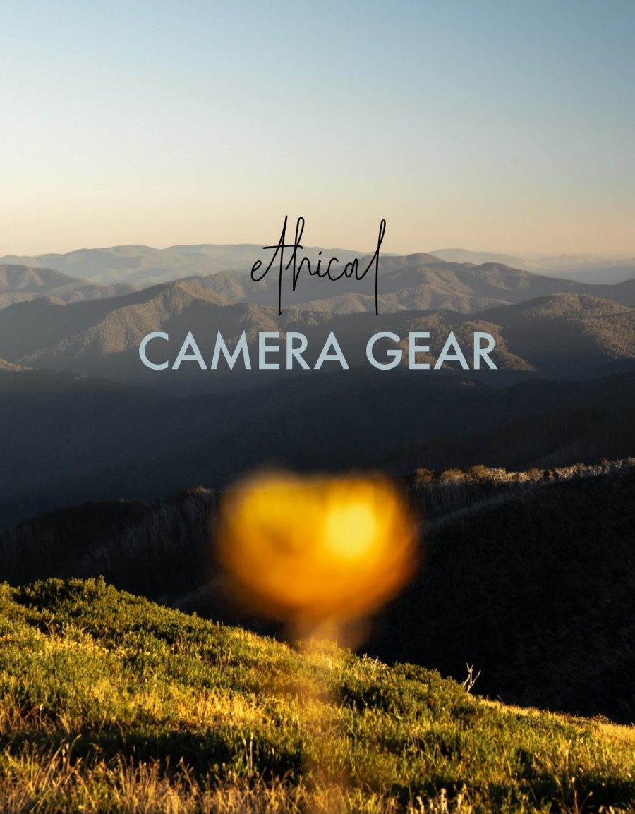 """Yellow alpine flower in front of mountains - Text overlay: """"Ethical Camera Gear"""""""